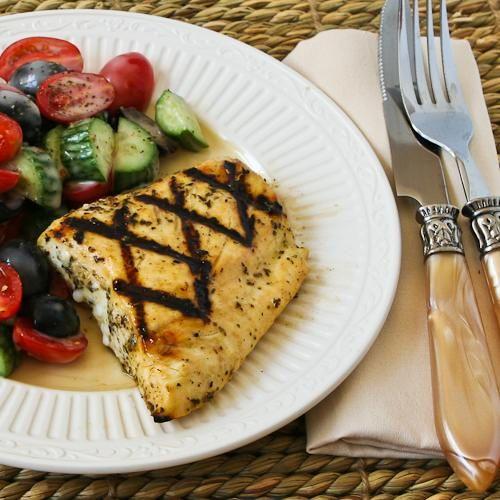 Grilled fish with Garlic, Basil, and Lemon (for halibut, tilapia or mahi-mahi)