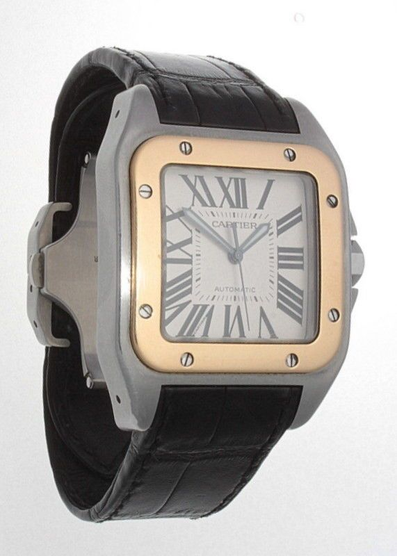 pre owned AUTHENTIC CARTIER SANTOS 100 XL 18K GOLD & STAINLESS STEEL 2656