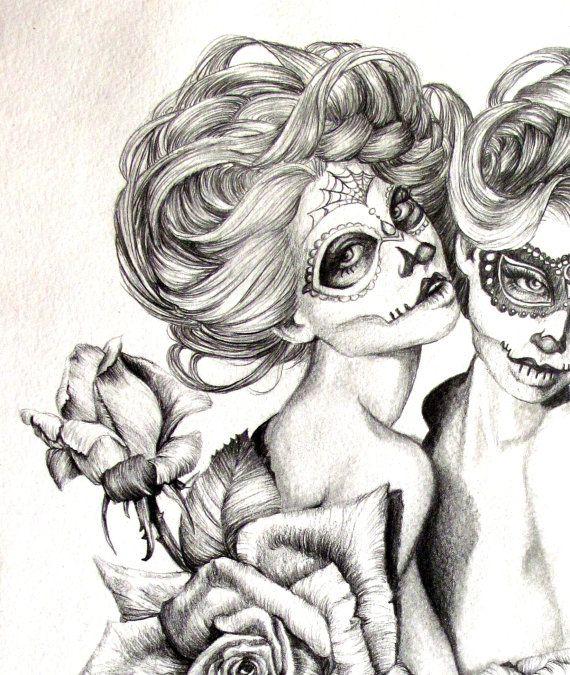 El azúcar gemelos-ilustración-azúcar cráneo por AlwaysAprilAlayne