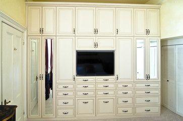Wardrobe & Media Unit with Antique White Glazed RTF Fronts