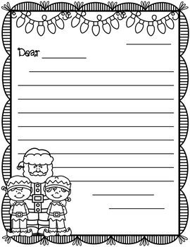 Friendly Letter Templates Winter Christmas Holiday Themed