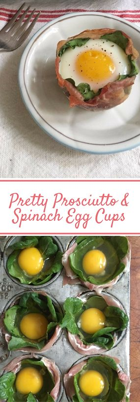 Prosciutto and Spinach Egg Cups. An easy brunch idea.