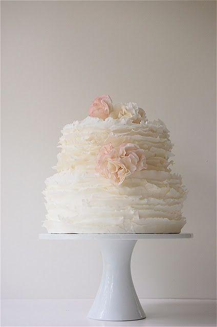 Ruffles wedding cake ... Floral ... Flowers ... Buttercream, fondant ... rustic glamorous, vintage, country elegance, shabby chic
