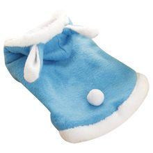 Practical Cutie Cosplay Pet Dog Cat Bunny Clothes Warm Clothes Autumn& Winter Puppy Costume Apparel Blue 5 size(China)