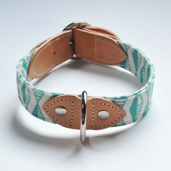 DOG COLLAR Handmade in a modern mint green by HiroandWolf on Etsy