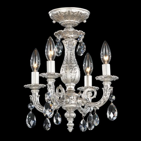 Schonbek Lighting 5654 Milano Semi-Flush Mount - Antique Silver.  For closet.  Ordered 20131015.