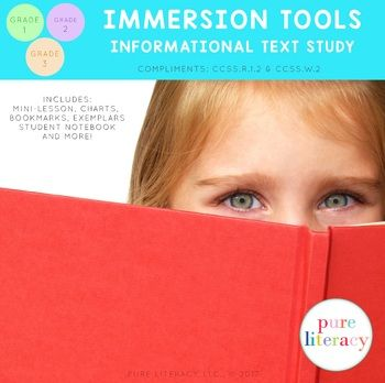 No matter what writing curriculum you are using, this informational text immersion tool pack will prove to be a great resource for your students. This immersion tool that will help you introduce students to key text features prior to teaching a unit in informational writing. An inquiry min-lesson is included to help you launch a close study of informational text.