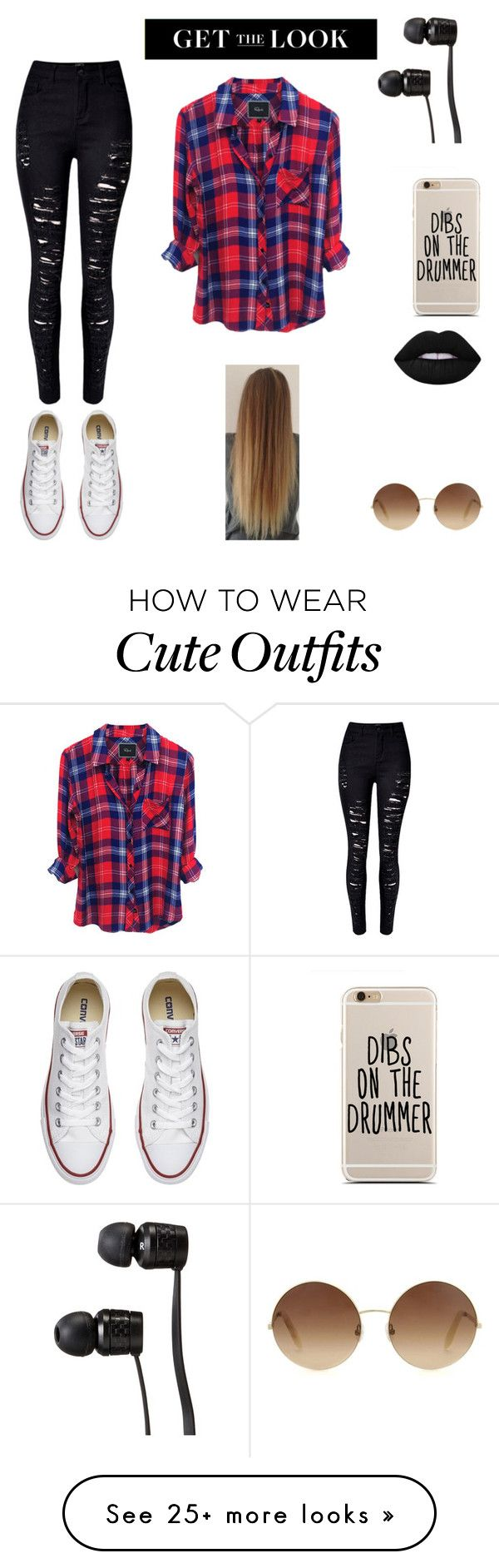 """""""Rocker Outfit"""" by styleim on Polyvore featuring Converse, WithChic, Vans, Victoria Beckham, Lime Crime, rockerchic and rockerstyle"""