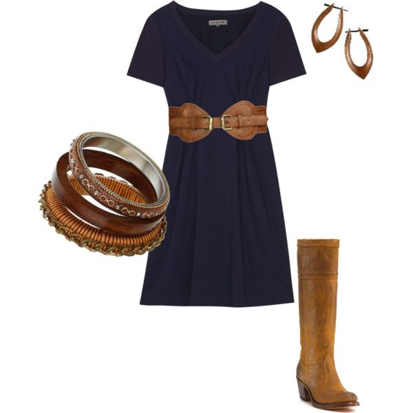 clothes: Navy And Brown, Dresses Belts, Navy Dresses, Fall Fashion, Fall Outfit, Cowboys Boots, Brown Boots, The Dresses, The Navy