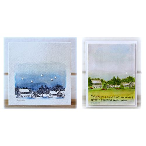 Serendipity Stamps Winter Homestead.  Serendipity Stamps Winter Homestead.  Birgit Edblom uses one stamp, Serendipity Stamps' Winter Homestead to made a beautiful set of seasonal switch cards.
