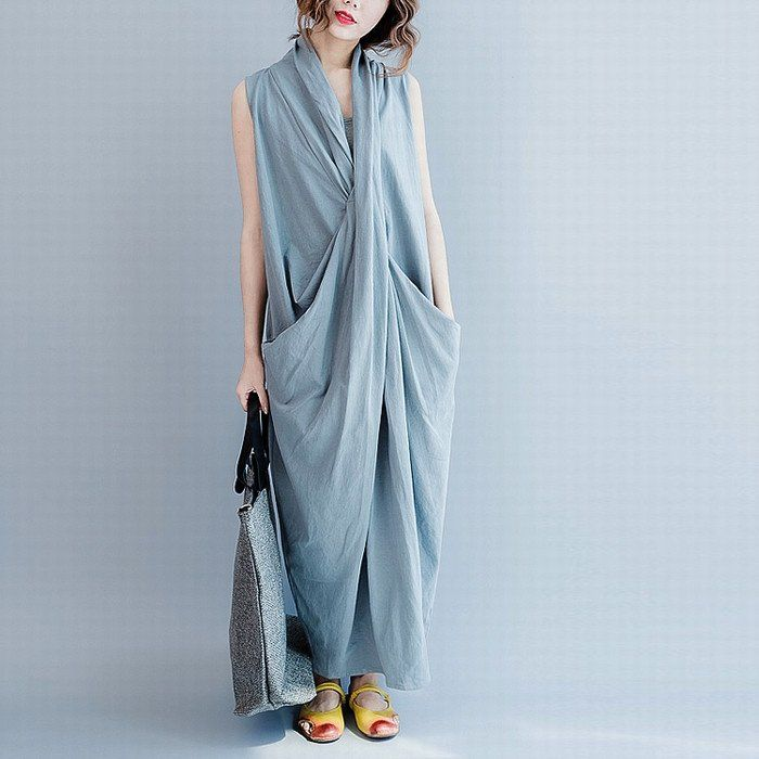 Sleeveless Cross Summer long dresses Causal Dresses Plus Size Oversize Women Clothes Q6369