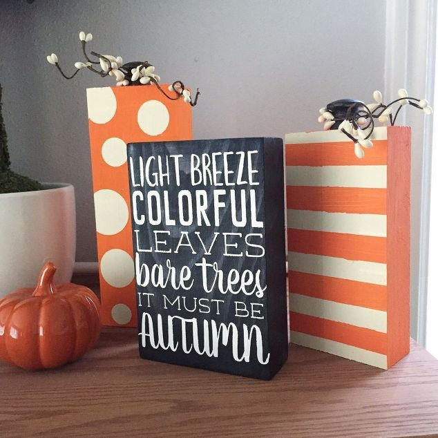 scrap wood pumpkin fall quote decor blocks, crafts, how to, painting, seasonal…