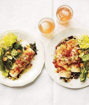 Slow-Cooker Bean and Spinach EnchiladasSlow Cooker Recipe, Black Beans, Crock Pots, Vegetarian Slow Cooker, Spinach Enchiladas, Vegetarian Recipe, Slow Cooking Beans, Vegetarian Meals, Slow Cooker Meals