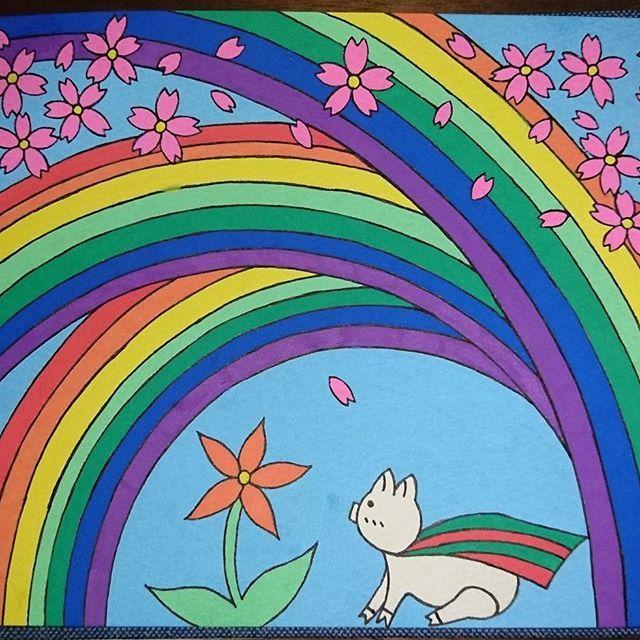 【sakura_hira_hira】さんのInstagramをピンしています。 《ボクの色って… 「君にだって 色はあるじゃない。」 「え?そんなのないと思っていたけど…」 「君はまだ 気付いていないだけなんだよ。 誰にだって あるものだからさ。あの塗りたがりの桜が 描くことのできない色がね。」 #イラスト #illust #絵 #drowing #art #ポスカ #posca #ぶた #ブタ #pig #とぶぶた #花 #flower #桜 #虹 #rainbow #色 #color #おはなし #心 #物語 #story #mycolor #yourcolor #桜ひらり #ありがとう #thanks》