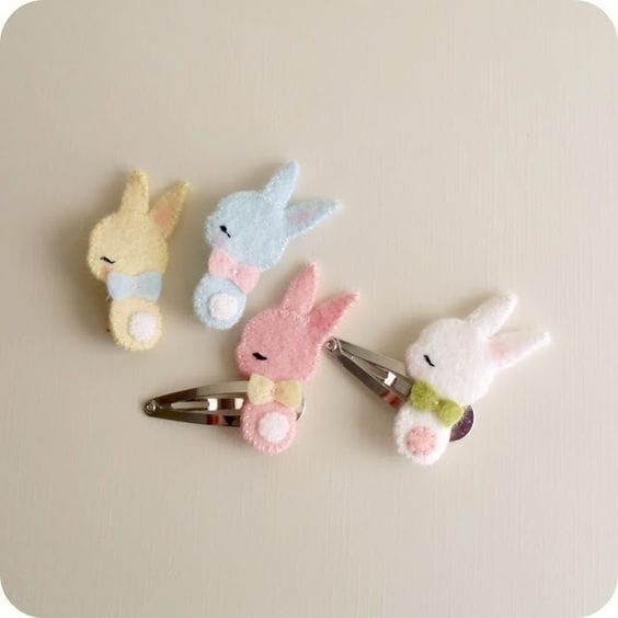 Forcine decorate con coniglietti in feltro #DIY #easter #bunny #felt #easterDIY #pasqua #faidate
