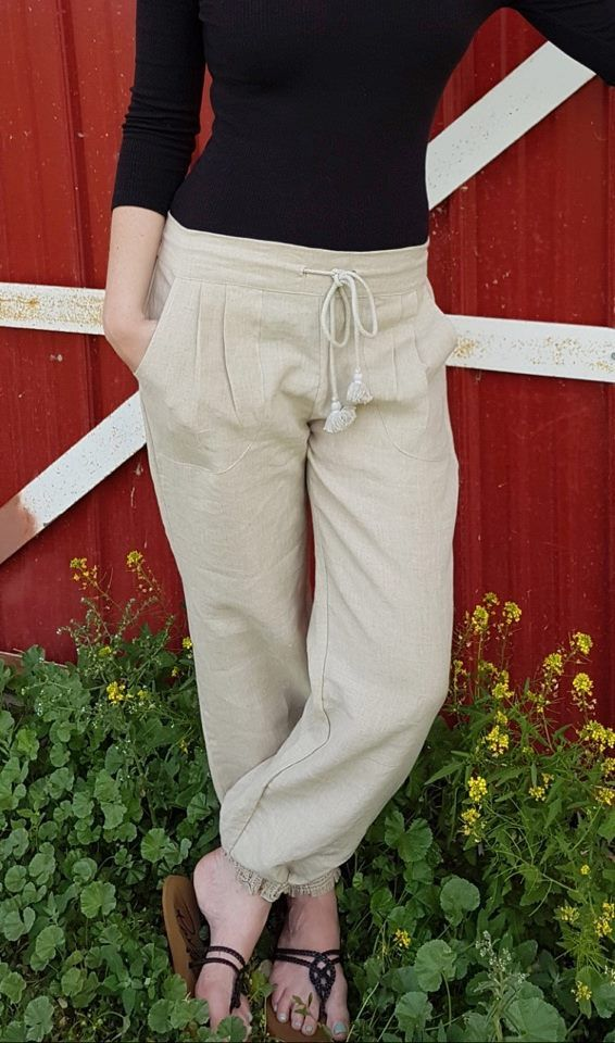 Linen City Harem Pant   The harem pant made for the city. With a classic, simple and easy style these pants can be dressed-up or dressed-down.   Made from linen the pants are breathable and ready for summer.  Elastic waist at back for complete comfort and fit