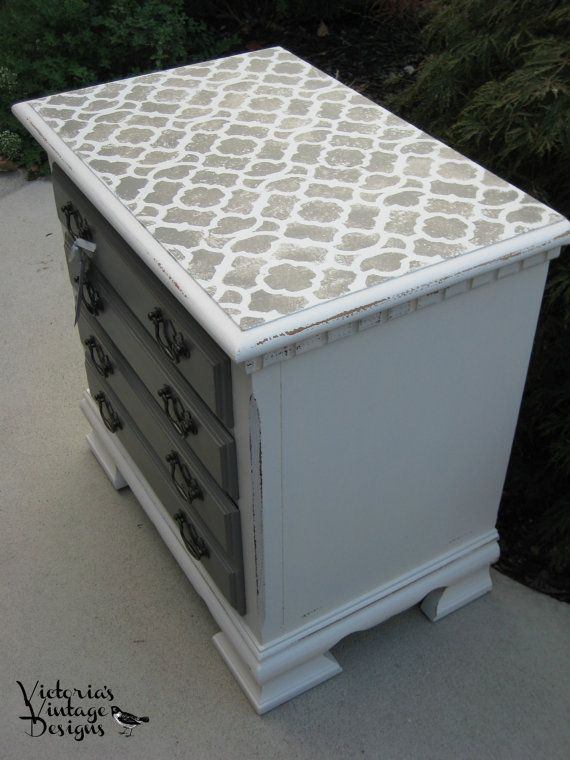 Hand Painted Night Stand/End/Side Table by VictoriasVintageDsgn