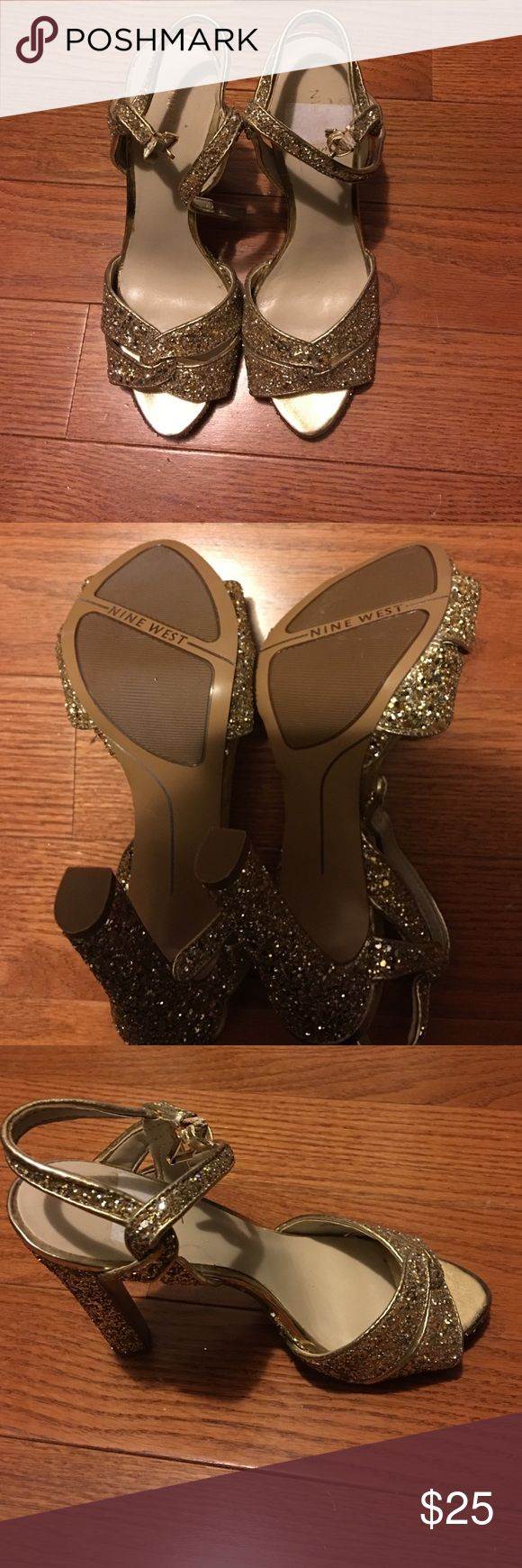 Nine West Size 7 open toe heels. Glittery Gold Open toe heels. Never worn! Nine West Shoes Heels