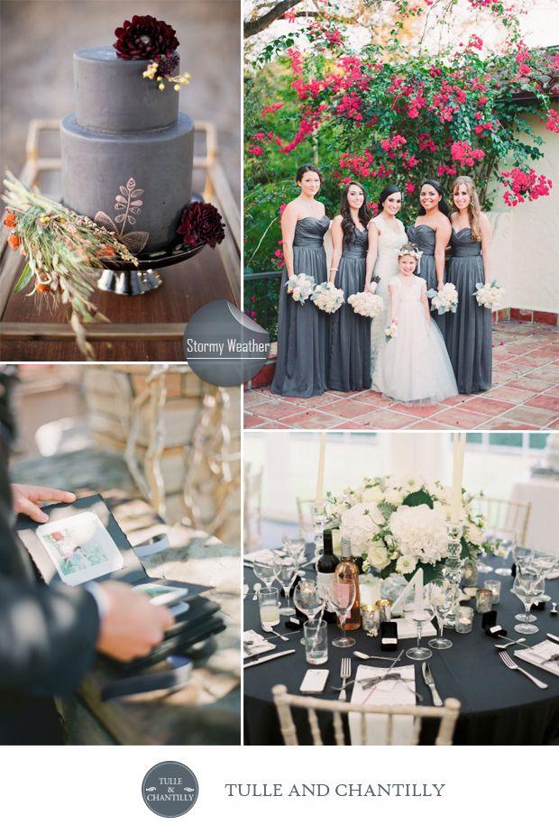 fall wedding colors - dark grey wedding color ideas for fall inspired weddings 2015