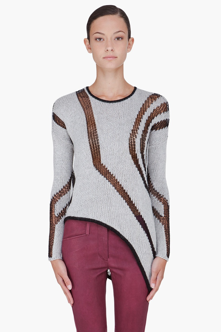 HELMUT LANG Grey Knit Asymmetric Sweater