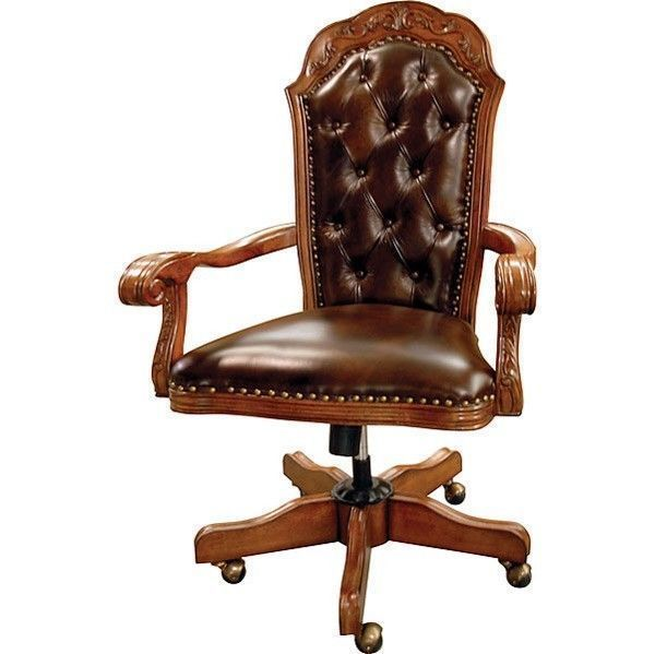 fice Chair Executive Traditional Solid Hardwood Tufted