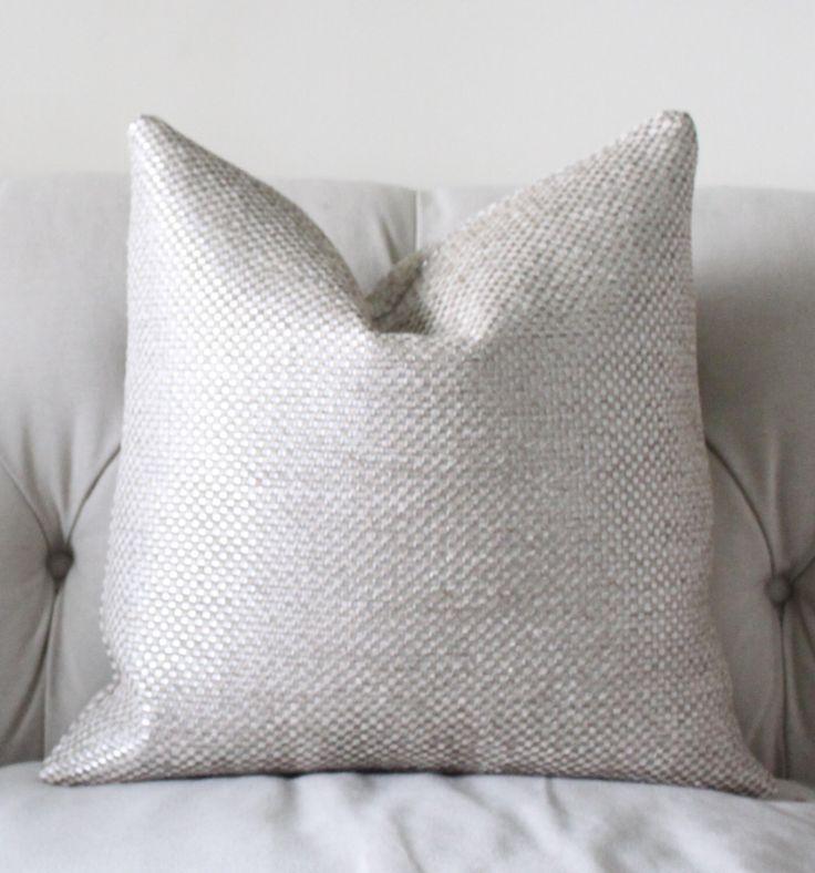 designer metallic pillow cover silver neutral pillow graphic pillow cover ivory grey pillow cover