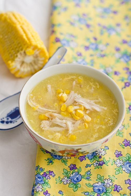 Lisa's Lemony Kitchen ....: Chicken and Sweetcorn Soup 2 cans of creamed corn 1 fresh corn- 3 cups of leftover roast chicken - shredded 2 eggs - give it a light whisk 1.5 liter of water 2 maggi chicken stock cubes a dash of sesame oil salt white pepper