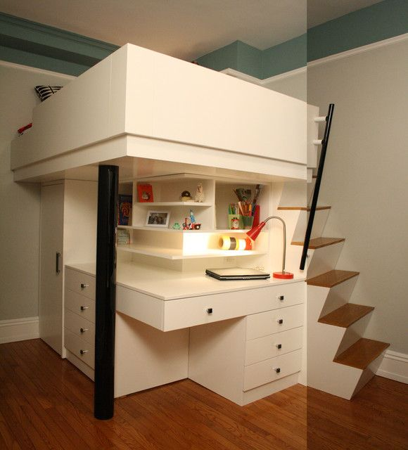 Cheerful Loft Bed for Your Children: Space Saving Corner Kids Loft Bed For Small Bedroom With Cool Ladder Installed On The Right Side With Study Desk Next To Staircase ~ HKSTANDARD Bedroom Designs Inspiration