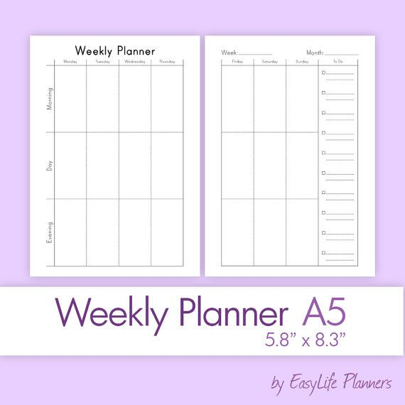 WEEKLY PLANNER A5 5.83 x 8.27 Printable PDF. by ...