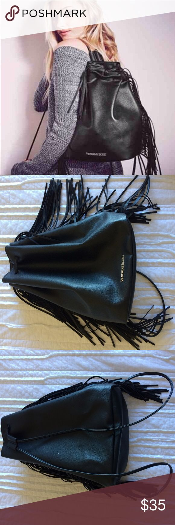 Victoria's Secret 2015 Fashion Show Backpack Faux leather with black fringe. Gently used. Has small nail polish spot on back of bag, but otherwise in good condition. (Cover photo from Victoria's Secret website) Victoria's Secret Bags Backpacks