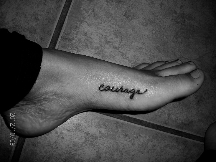 "My first tattoo; in my mom's handwriting. ""Courage to change the things I can."""