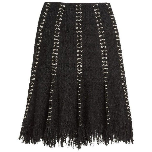 Women's Alexander Wang Pierced Tweed Skirt With Fringe (5,340 ILS) ❤ liked on Polyvore featuring skirts, black, tweed skater skirt, fringe skirts, flared skirt, skater skirts and alexander wang skirt