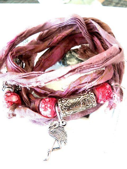 Pink Flamingo  Beachy Boho Bracelet Pink Silk Wrap by bonnierose, $15.95