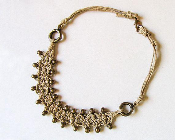 Beaded Necklace, Brass Bead Necklace, Short bib necklace, Boho chic chunky necklace, Crochet necklace, Bohemian jewelry, Mothers necklace