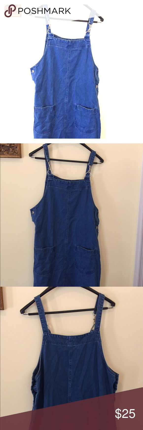 Vintage 90s Maxi Dress Denim vintage maxi dress inspired by the 90s. Has two utility pockets in the front. Can be worn with one side undone, tied at the side and with a floral collared shirt under. Have any ideas for this piece? #denim #romper #vintage #90s #festival Vintage Dresses Maxi