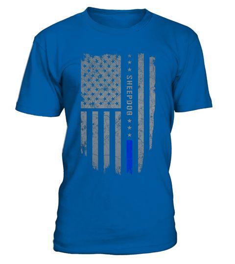 Sheepdog Thin Blue Line American Flag Shirt T Shirt