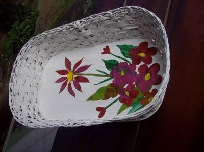 cesto de vime pintado