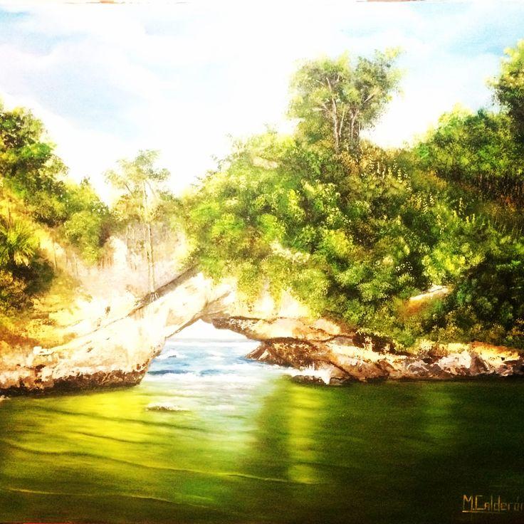 """Paisaje realista """"Arco Natural el Morro- Tumaco # cuadro al oleo#pincel y espatula#por Mariluz Calderon"""