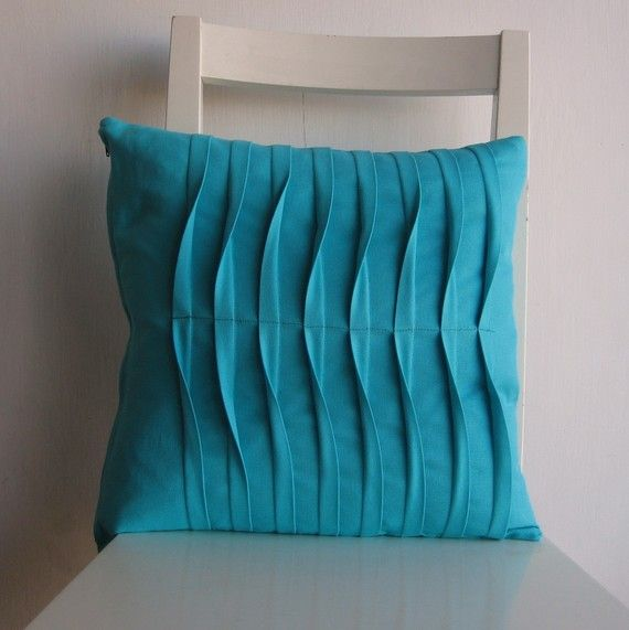Pleated  Turquoise16 X 16 Cotton Cusion Cover por pillow1 en Etsy