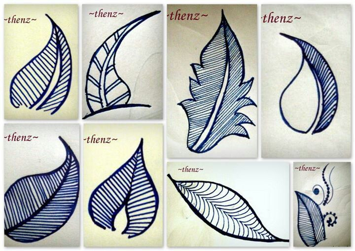 These are henna patterns but might be good inspiration for embroidered leaves.