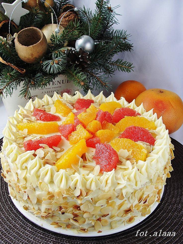 Ala piecze i gotuje: Tort makowo budyniowy z cytrusami