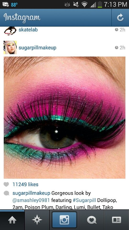 Look by @Ashley Walters Walters Walters Crowder on instagram using Sugarpill makeup. Pink, fuchsia, green, turquoise