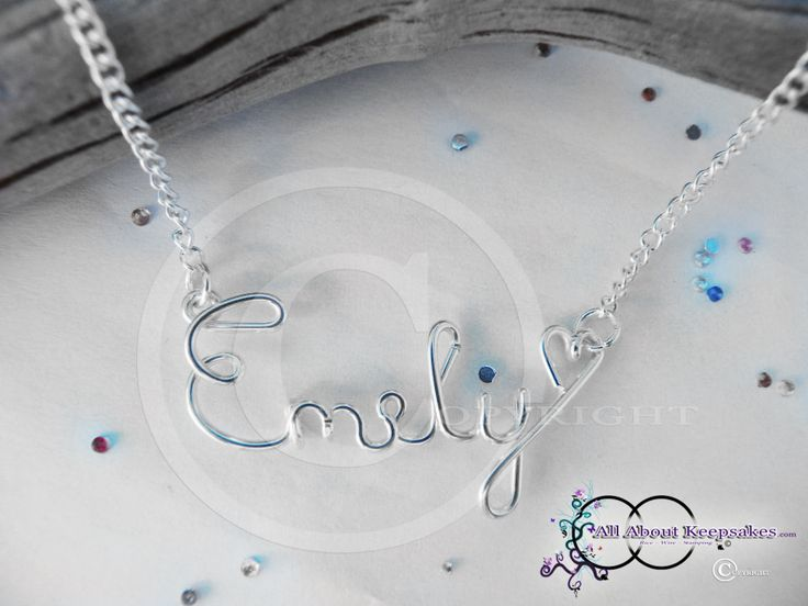"Wire Name necklace ""Emily""  allaboutkeepsakes.com"