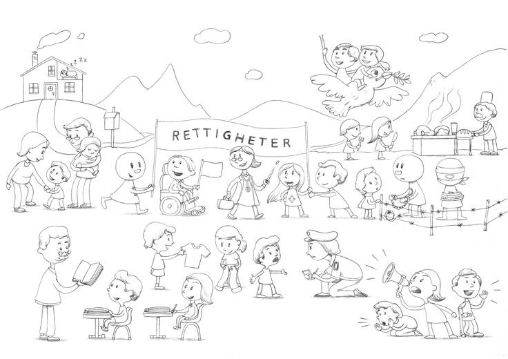 Demokrabaten illustrerer menneskerettigheter. Tegningen har lisens av typen CC BY SA NC. Det betyr at du fritt kan bruke tegningene og dele dem videre under samme vilkår, så lenge du ikke bruker tegningene i forretningssammenheng. Bruk dem gjerne i skole og barnehage :)