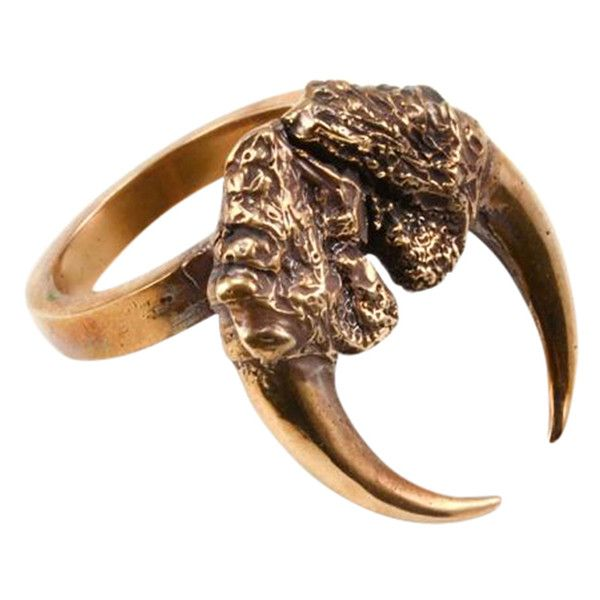 Eilisain Jewelry Bronze Double Owl Talon Arc Ring ($140) ❤ liked on Polyvore featuring jewelry, rings, talon rings, owl jewelry, claw jewelry, talon jewelry and owl jewellery