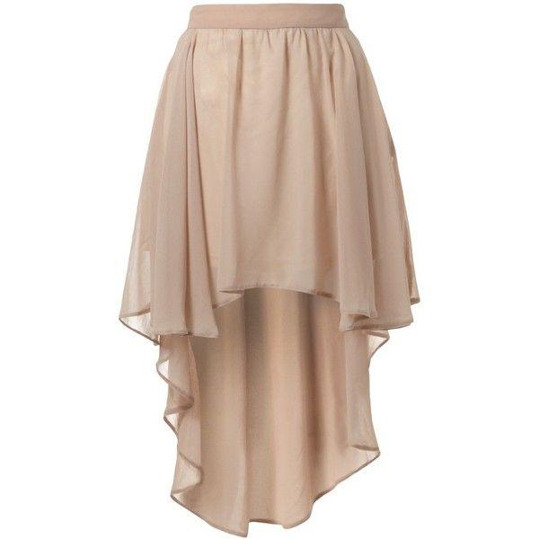 Lipsy Dippy Hem Skirt ($33) ❤ liked on Polyvore featuring skirts, mini skirts, bottoms, saias, faldas, chiffon mini skirt, mullet skirt, hi low skirt, hi low chiffon skirt and beige skirt