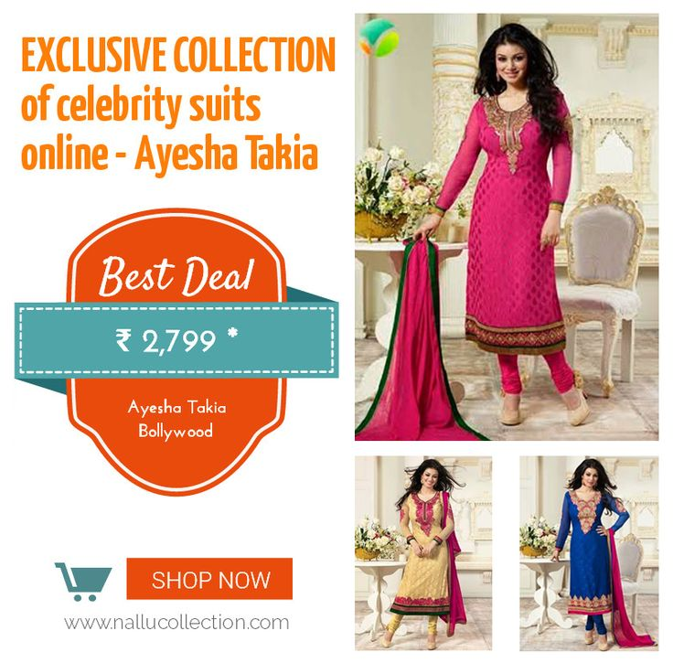 Exclusive collection of #celebrity #suits #online - Ayesha Takia Ayesha in Embroidered Red Brasso Georgette Salwar Suit with Chiffon Dupatta, it has golden embroidered yoke, full sleeves. Shop On: http://goo.gl/usdyuo
