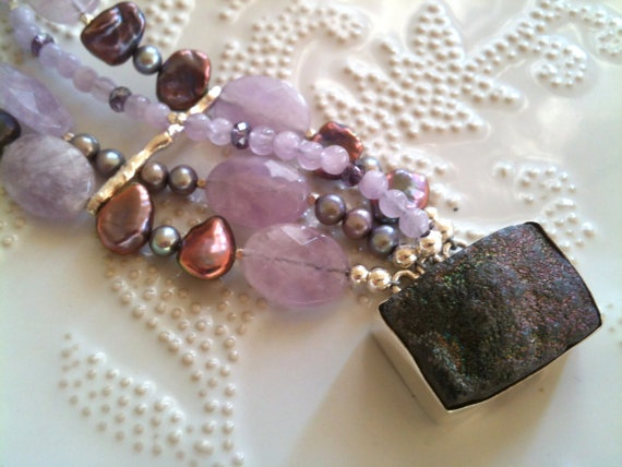 Rainbow Black Druzy Bracelet  Cape Amethyst by WencheDesign, $210.00