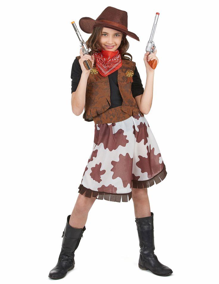 Disfraz de vaquera para niña: Este disfraz de vaquera para niña se compone de una chaqueta, una falda, un cinturón, un pañuelo y un sombrero. (Zapatos no incluidos). Es un traje perfecto para convertirte en...