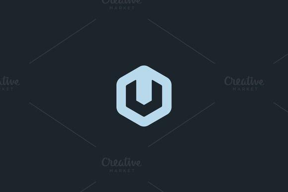 Abstract letter V U logo by iamguru on Creative Market